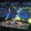 Fans seated in Lucas Oil Stadium use flash lights to set the atmosphere for Madonna's halftime performance during Super Bowl XLVI in Indianapolis Sunday.