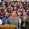 Tribune-Star/Jim Avelis<br /> Overcome: Terre Haute North grad Steve Weatherford is overcome with emotion at the standing ovation he recieved at an all-school assembly Tuesday afternoon. The New York Giants punter brought teammates Zak DeOssie(long snapper) and Lawrence Tynes(placekicker) with him.