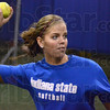 Arm: Indiana State third baseman Megan Stone fires a ball to a teammate while preparing for Friday's practice at the indoor facility.