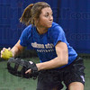 ISU intensity: Indiana State University softball player Makenzie Connelly from Casey, Illinois throws the ball to a teammate during Friday's practice.