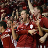 Smelling a Spartan defeat: The Indiana bench comes to its feet after teammate Jordan Hulls hit a three-point basket in the second half of action Tuesday in Bloomington.