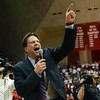 Three top five defeats: Indiana head coach Tom Crean announces to the crowd that the Hoosiers have beat three teams ranked in the top five after the Hoosiers' defeat of Michigan State Tuesday in Bloomington.