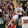 Stellar Zeller: Indiana's Cody Zeller dunks the ball against the Michigan State defense during the Hoosiers' 70-55 win Tuesday in Bloomington.