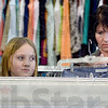 Tribune-Star/Joseph C. Garza<br /> The search for a good buy is on: Rachel Ford, 9, shops with her mom, Julie Ford, as they look through the jeans aisle at the new Goodwill store at 2645 Wabash Avenue Tuesday.