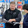 Tribune-Star/Joseph C. Garza<br /> Quake plan: Mark O'Heir, director of the Vermillion County EMA, discusses the course of action Walmart Store Manager Misty Roskovensky's employees will take for an earthquake drill Tuesday in Clinton.