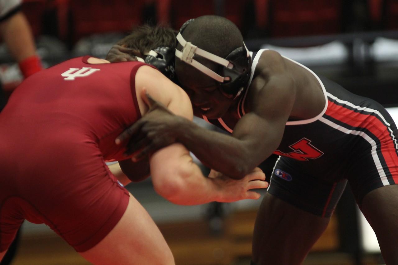 GWU's Michael Slaughter wrestling.
