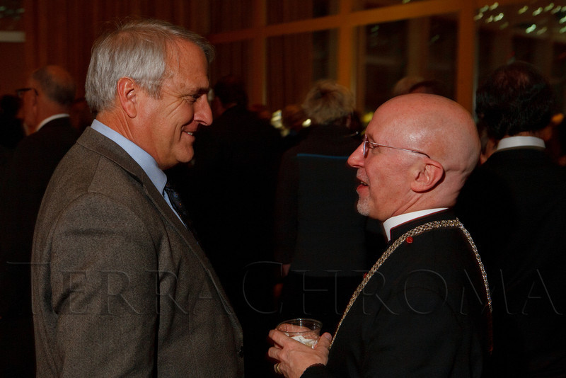"Governor Bill Ritter, Jr., speaks with Reverend Peter Eaton.  ""Strings of Hope,"" a tribute to Noel Cunningham and fundraiser for the Cunningham Foundation, at The Denver Center for the Performing Arts, Buell Theatre and Seawell Ballroom, in Denver, Colorado, on Thursday, Feb. 2, 2012.  Photo Steve Peterson, Special to the Denver Post"