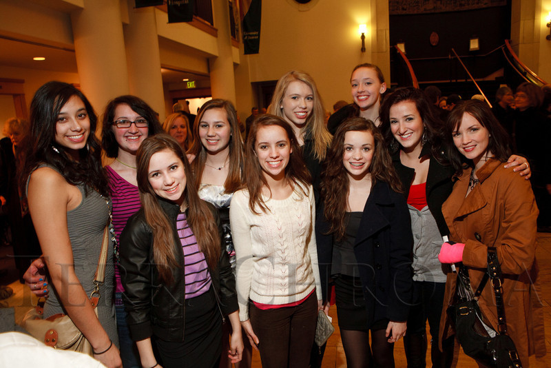 "Members of the Colorado Jazz Dance Company, whom Ben Vereen mentors:  Nina Born, Aubrey Fountain, Skyler Sward, Nicole Miller, Ambrie Sward, Delaney Ciborowski, Jazlyn Sward, Rhiona O'Loughlin (back), Megan Foster, and Celeste Russell.  ""Steppin' out with Ben Vereen,"" a concert benefiting Rocky Mountain PBS, at the Newman Center for the Performing Arts, Gates Concert Hall, in Denver, Colorado, on Friday, Feb. 3, 2012.<br /> Photo Steve Peterson"