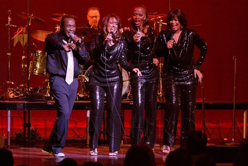 "Ben Vereen (right) sings with the S.T.A.R.S. Trio (Nadine Risha, Natalie Oliver-Atherton, Carolyne Fuqua).  ""Steppin' out with Ben Vereen,"" a concert benefiting Rocky Mountain PBS, at the Newman Center for the Performing Arts, Gates Concert Hall, in Denver, Colorado, on Friday, Feb. 3, 2012.<br /> Photo Steve Peterson"