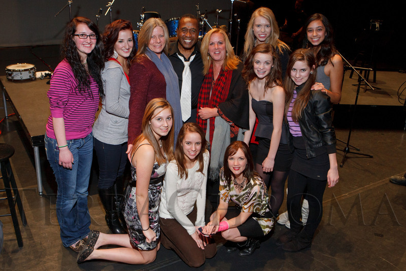 """Ben Vereen with members of Lanay Dance Yoga.  """"Steppin' out with Ben Vereen,"""" a concert benefiting Rocky Mountain PBS, at the Newman Center for the Performing Arts, Gates Concert Hall, in Denver, Colorado, on Friday, Feb. 3, 2012.<br /> Photo Steve Peterson"""