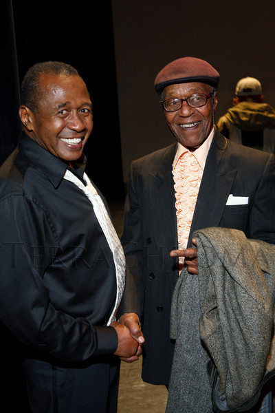 """Ben Vereen and Charles Burrell.  """"Steppin' out with Ben Vereen,"""" a concert benefiting Rocky Mountain PBS, at the Newman Center for the Performing Arts, Gates Concert Hall, in Denver, Colorado, on Friday, Feb. 3, 2012.<br /> Photo Steve Peterson"""