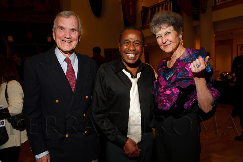 """Bill Grier, Ben Vereen, and Joanie Grier.  """"Steppin' out with Ben Vereen,"""" a concert benefiting Rocky Mountain PBS, at the Newman Center for the Performing Arts, Gates Concert Hall, in Denver, Colorado, on Friday, Feb. 3, 2012.<br /> Photo Steve Peterson"""