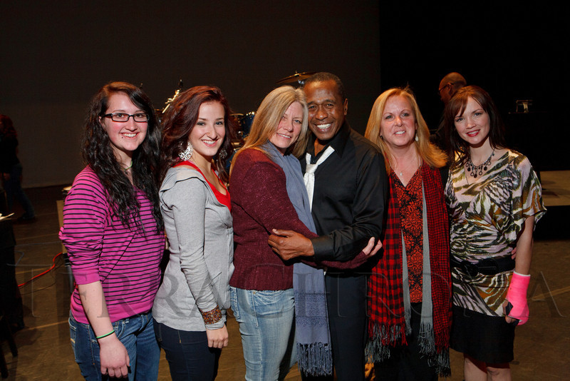 """Ben Vereen with leaders of Lanay Dance Yoga.  """"Steppin' out with Ben Vereen,"""" a concert benefiting Rocky Mountain PBS, at the Newman Center for the Performing Arts, Gates Concert Hall, in Denver, Colorado, on Friday, Feb. 3, 2012.<br /> Photo Steve Peterson"""