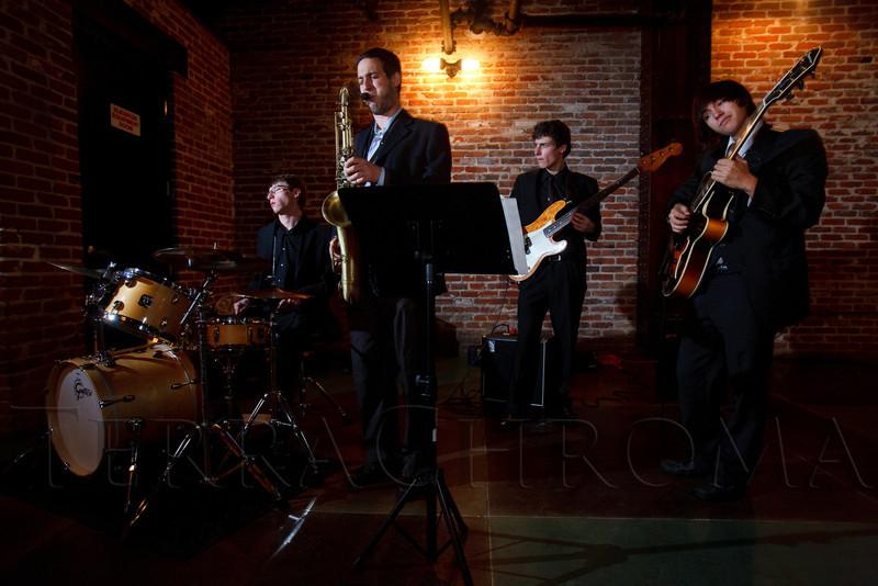 "With the Colorado Conservatory for the Jazz Arts:  B.K. Kahn, Danny Meyer, Luke McCrosson, and Jake Alvarez.  ""ArtReach Dine & D'art,"" benefiting ArtReach Denver, at Mile High Station in Denver, Colorado, on Saturday, Feb. 4, 2012.<br /> Photo Steve Peterson"
