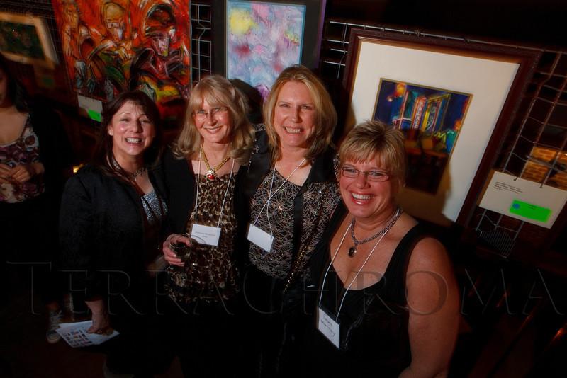 "Patti Wells, Barbara Reasoner, Nancy Cole, Laura Murray.  ""ArtReach Dine & D'art,"" benefiting ArtReach Denver, at Mile High Station in Denver, Colorado, on Saturday, Feb. 4, 2012.<br /> Photo Steve Peterson"