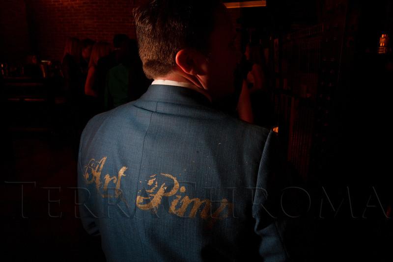 "Eric Matelski's jacket, ""Art Pimp.""  ""ArtReach Dine & D'art,"" benefiting ArtReach Denver, at Mile High Station in Denver, Colorado, on Saturday, Feb. 4, 2012.<br /> Photo Steve Peterson"