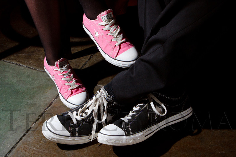 "Crystal and Fred Churbuck's footwear by Converse.  ""ArtReach Dine & D'art,"" benefiting ArtReach Denver, at Mile High Station in Denver, Colorado, on Saturday, Feb. 4, 2012.<br /> Photo Steve Peterson"