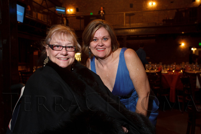 "Bernadette Berger and Karla Johnson-Grimes (ArtReach executive director).  ""ArtReach Dine & D'art,"" benefiting ArtReach Denver, at Mile High Station in Denver, Colorado, on Saturday, Feb. 4, 2012.<br /> Photo Steve Peterson"