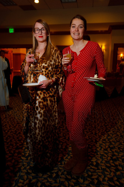 """Tracy Rackauskas and Mel Torgusen in their pajama best.  """"Seventh Annual PJ Day,"""" benefiting Denver's Road Home, at the Residence Inn Denver City Center in Denver, Colorado, on Thursday, Feb. 9, 2012.<br /> Photo Steve Peterson"""