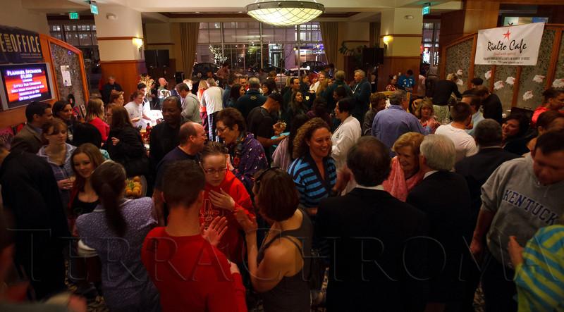 "In the lobby.  ""Seventh Annual PJ Day,"" benefiting Denver's Road Home, at the Residence Inn Denver City Center in Denver, Colorado, on Thursday, Feb. 9, 2012.<br /> Photo Steve Peterson"