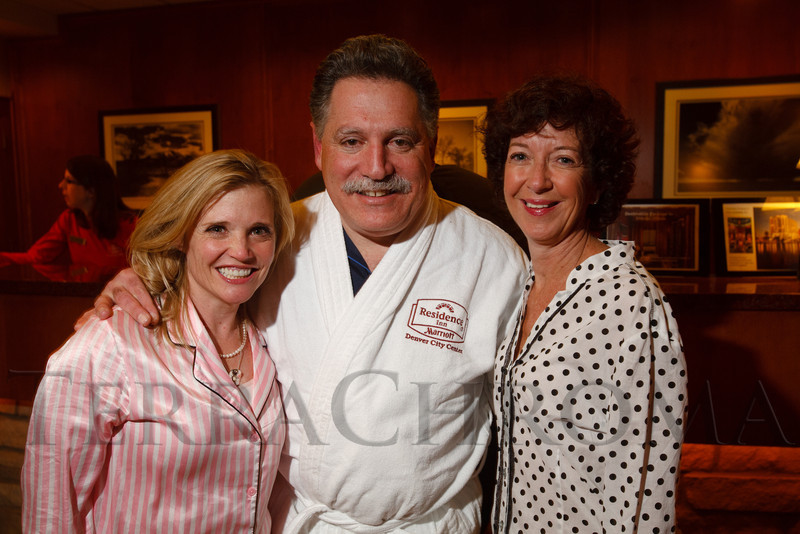 "Tami Door, Walter Isenberg, and Christine Benero.  ""Seventh Annual PJ Day,"" benefiting Denver's Road Home, at the Residence Inn Denver City Center in Denver, Colorado, on Thursday, Feb. 9, 2012.<br /> Photo Steve Peterson"
