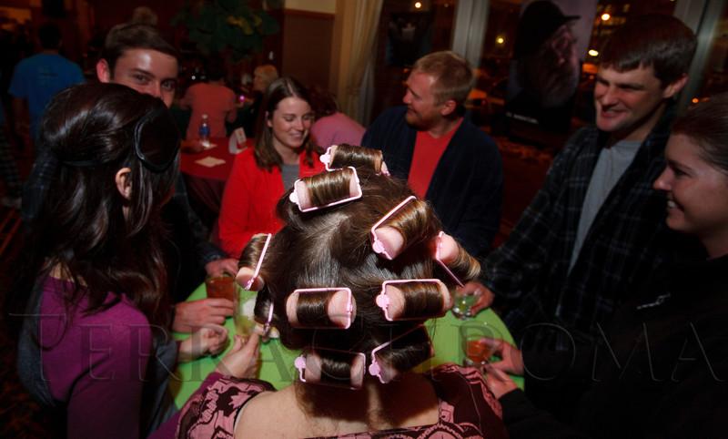 "Ronett Powers and her curlers.  ""Seventh Annual PJ Day,"" benefiting Denver's Road Home, at the Residence Inn Denver City Center in Denver, Colorado, on Thursday, Feb. 9, 2012.<br /> Photo Steve Peterson"