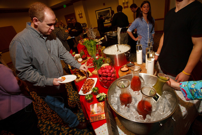 "Bloody Mary bar at the Second Home table.  ""Seventh Annual PJ Day,"" benefiting Denver's Road Home, at the Residence Inn Denver City Center in Denver, Colorado, on Thursday, Feb. 9, 2012.<br /> Photo Steve Peterson"