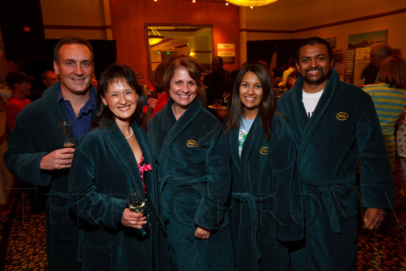 "With PCL:  Mike Kehoe, Yun Hui, Diana Canzona, Urvi and Ankit Sanghvi.  ""Seventh Annual PJ Day,"" benefiting Denver's Road Home, at the Residence Inn Denver City Center in Denver, Colorado, on Thursday, Feb. 9, 2012.<br /> Photo Steve Peterson"