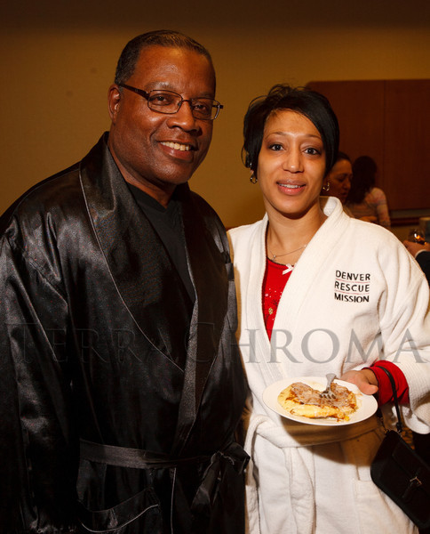 """Bennie Milliner (DRH executive director) and L. Shawn DeBerry.  """"Seventh Annual PJ Day,"""" benefiting Denver's Road Home, at the Residence Inn Denver City Center in Denver, Colorado, on Thursday, Feb. 9, 2012.<br /> Photo Steve Peterson"""