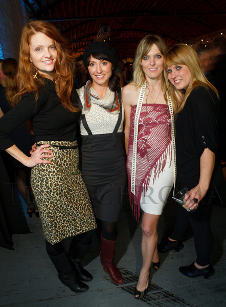 "Elizabeth Harris, Kelly Monico, Melissa Belongea, and Holly Clymore.  Design After Dark 2012, themed ""bespoke,"" benefiting the Denver Art Museum, at 445 Broadway in Denver, Colorado, on Friday, Feb. 10, 2012.<br /> Photo Steve Peterson"