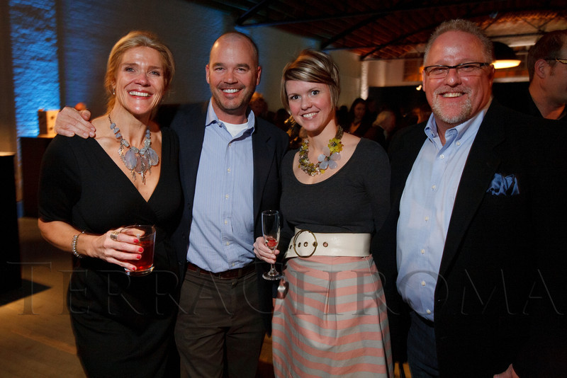 "Joyce Clegg, Michael Hupf, Brooke Erkel, and Bill Miller.  Design After Dark 2012, themed ""bespoke,"" benefiting the Denver Art Museum, at 445 Broadway in Denver, Colorado, on Friday, Feb. 10, 2012.<br /> Photo Steve Peterson"