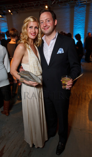 "Beth Hudacky and Adam Batchelor.  Design After Dark 2012, themed ""bespoke,"" benefiting the Denver Art Museum, at 445 Broadway in Denver, Colorado, on Friday, Feb. 10, 2012.<br /> Photo Steve Peterson"