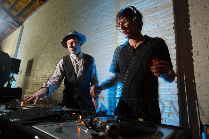 """James Holden and James Yardley, the DJ's of """"Double // Shadow"""".  Design After Dark 2012, themed """"bespoke,"""" benefiting the Denver Art Museum, at 445 Broadway in Denver, Colorado, on Friday, Feb. 10, 2012.<br /> Photo Steve Peterson"""