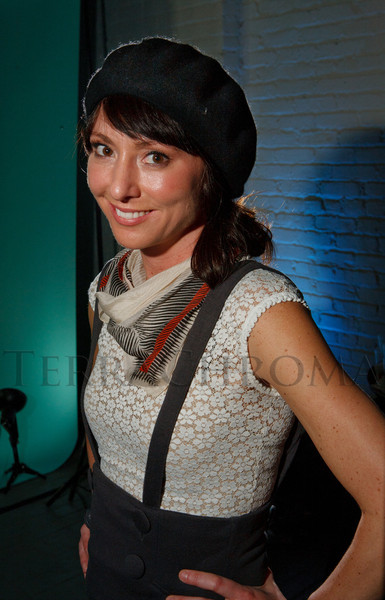 "Kelly Monico, in what partiers called the ""Bonnie & Clyde"" look.  Design After Dark 2012, themed ""bespoke,"" benefiting the Denver Art Museum, at 445 Broadway in Denver, Colorado, on Friday, Feb. 10, 2012.<br /> Photo Steve Peterson"