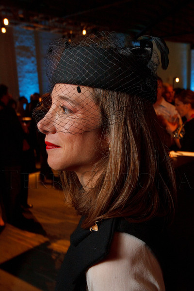 "Kimberly MacArthur Graham, wearing a hat found at Zia's Boutique in Denver.  Design After Dark 2012, themed ""bespoke,"" benefiting the Denver Art Museum, at 445 Broadway in Denver, Colorado, on Friday, Feb. 10, 2012.<br /> Photo Steve Peterson"