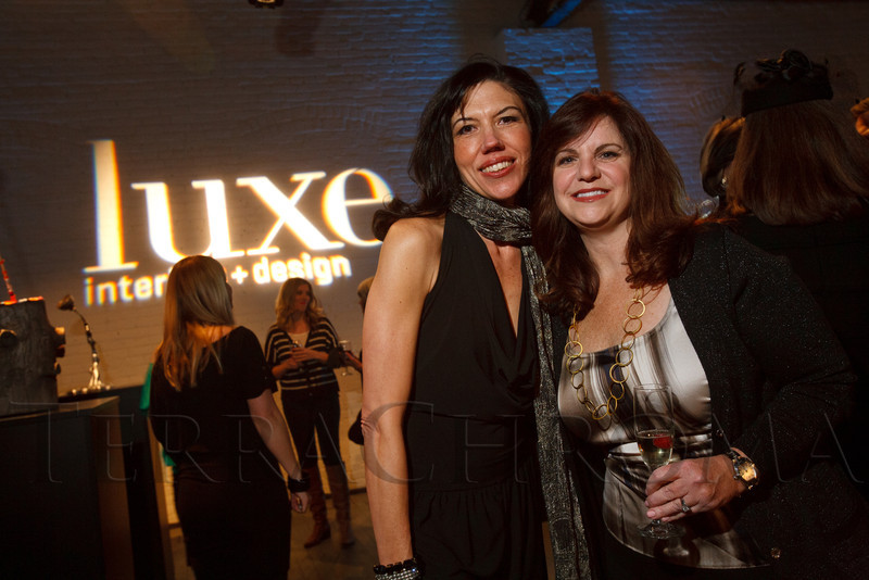 "Rachelle Folsom with Dana Meacham (founding publisher of Luxe Interiors + Design Magazine).  Design After Dark 2012, themed ""bespoke,"" benefiting the Denver Art Museum, at 445 Broadway in Denver, Colorado, on Friday, Feb. 10, 2012.<br /> Photo Steve Peterson"