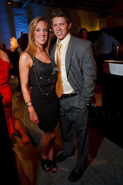 "Erin Wallander and Jon Cerf.  Design After Dark 2012, themed ""bespoke,"" benefiting the Denver Art Museum, at 445 Broadway in Denver, Colorado, on Friday, Feb. 10, 2012.<br /> Photo Steve Peterson"