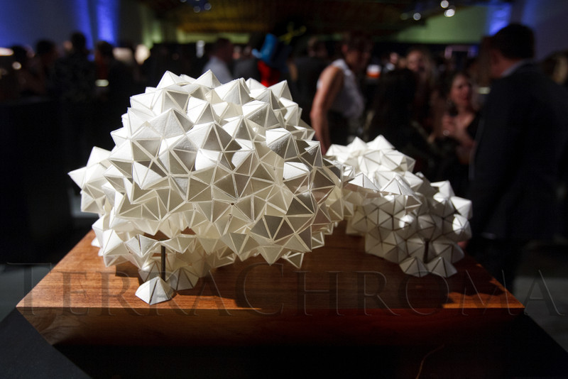 """""""Virga,"""" by Brittany Gould, a collection of hand-cut triangles, won the """"Most Liberated"""" award.  Design After Dark 2012, themed """"bespoke,"""" benefiting the Denver Art Museum, at 445 Broadway in Denver, Colorado, on Friday, Feb. 10, 2012.<br /> Photo Steve Peterson"""