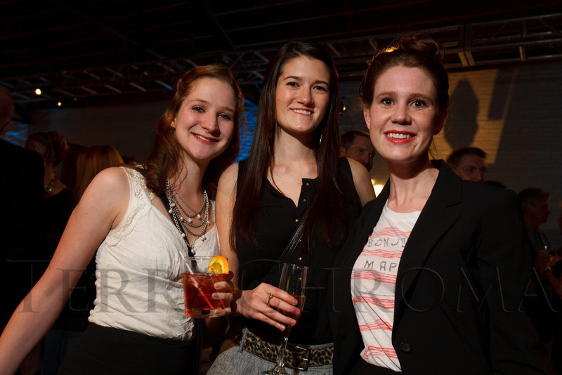 "Marissa Glatter, Kate Heese, and Madeline Caudle.  Design After Dark 2012, themed ""bespoke,"" benefiting the Denver Art Museum, at 445 Broadway in Denver, Colorado, on Friday, Feb. 10, 2012.<br /> Photo Steve Peterson"