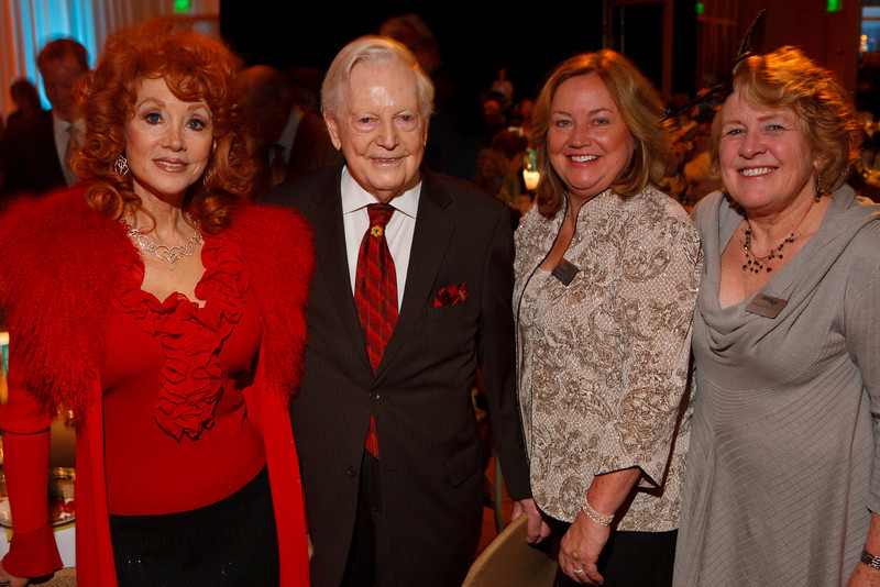 """Judi Wolf, Donald Seawell, Maureen Hewitt, and Maureen Hanrahan.  Benefit for InnovAge, formerly Total Community Options Foundation, themed, """"Early Bird Special,"""" at the Donald R. Seawell Grand Ballroom, Denver Center for Performing Arts, in Denver, Colorado, on Saturday, Feb. 18, 2012.<br /> Photo Steve Peterson"""