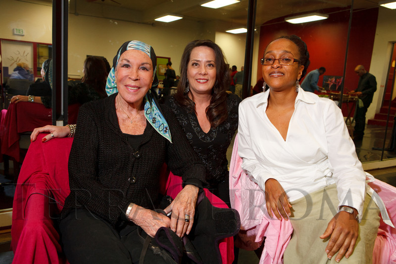 "Julie Belafonte, Cindy Kent, and Rachel Harding.  Reception for Julie Belafonte, aiding Cleo Parker Robinson Dance in the production of Katherine Dunham's ballet, ""Southland,"" at Cleo Parker Robinson Dance in Denver, Colorado, on Saturday, Feb. 18, 2012.<br /> Photo Steve Peterson"