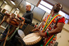 "Faisal Salahuddin and drummer Koffi Toudji.  Reception for Julie Belafonte, aiding Cleo Parker Robinson Dance in the production of Katherine Dunham's ballet, ""Southland,"" at Cleo Parker Robinson Dance in Denver, Colorado, on Saturday, Feb. 18, 2012.<br /> Photo Steve Peterson"