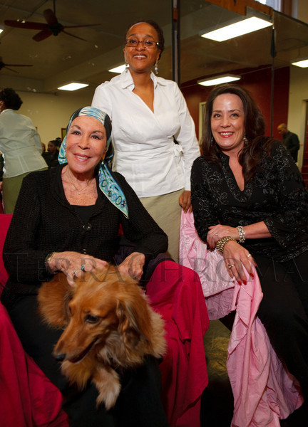 "Julie Belafonte, Rachel Harding, and Cindy Kent.  Reception for Julie Belafonte, aiding Cleo Parker Robinson Dance in the production of Katherine Dunham's ballet, ""Southland,"" at Cleo Parker Robinson Dance in Denver, Colorado, on Saturday, Feb. 18, 2012.<br /> Photo Steve Peterson"