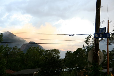 Smoke from the Flagstaff Fire and grass fires near Table Mesa