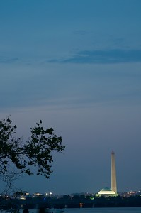 July 4, 2012 - Washington Monument and Jefferson Memorial viewed from Gravelly Point Park in Arlington, VA