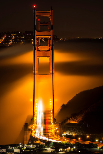 """We arrived at """"the alignment"""" to find a beautiful fog had settled in.   The glow from the bridge on the fog was stunning."""