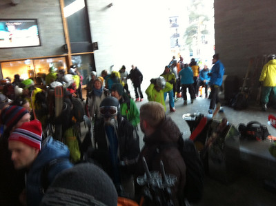 Waiting for the lift to Aiguille du Midi.  What a busy February day looks like at the base station.