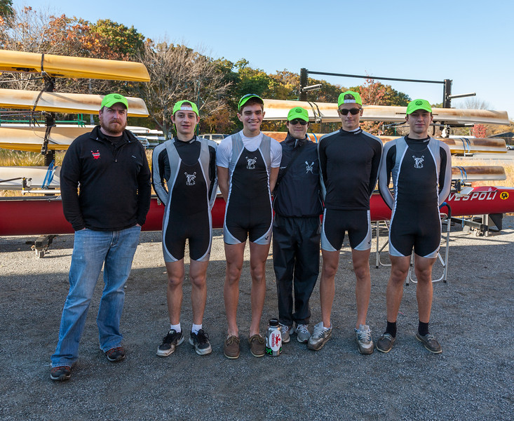 Coach Matt and Boys Varsity Four: Jonah, Evan, Ben, Andre, and Liam