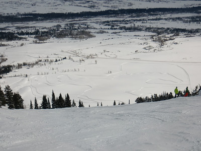 the cross country ski track was plowed into the shape of the wyoming bucking bronco/cowboy...can u see it?