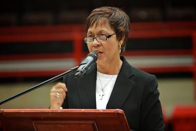 Civil Rights Pioneer Carolyn McKinstry speaks for Gardner-Webb University's MLK day Dimensions Program.